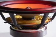 Colorful illuminated loudspeaker detail Stock Photos
