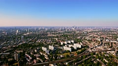 Aerial View Of A Residential Area Of London On A Clear Bright Sunny Day Stock Footage