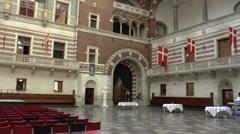 Interior View of Copenhagen City Hall Stock Footage