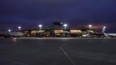Vnukovo airport building at night Stock Footage
