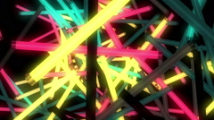 Colorful blinking neon lamps for music video and VJ Stock Footage