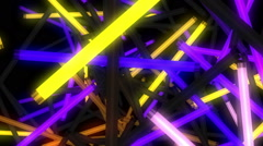 Violet and yellow neon lamps moving around in space Stock Footage