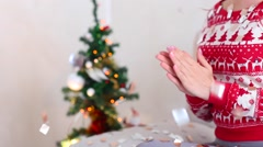 Young Girl Clap Hands on Bokeh Xmas Eve Lights New Year Tree Confetti Christmas Stock Footage