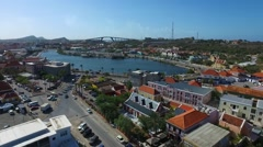 Aerial overview of Punda and Waaigat, Curacao Stock Footage