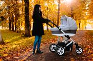 Young happy mom with a stroller in autumn park Stock Photos