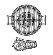 Barbecue grill top view with charcoal and beef steak. Piirros