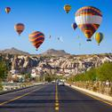 Hot air balloons near Goreme, Cappadocia, Turkey Stock Photos