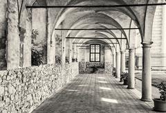 Medieval arcade corridor at Telc castle, black and white Kuvituskuvat