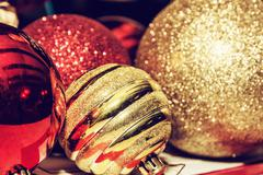 Shimmering christmas baubles, retro photo filter Stock Photos