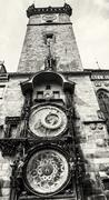 Old town hall with astronomical clock in Prague, black and white Stock Photos