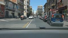 POV driving on Via Etnea in Catania, Sicily, Italy. Stock Footage