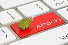 Attack! concept, on the computer keyboard. 3D rendering Stock Illustration