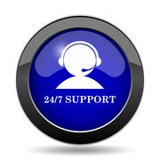 24-7 Support icon. Internet button on white background.. Stock Illustration