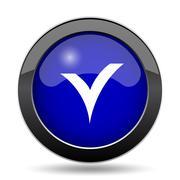 V checked icon. Internet button on white background.. Stock Illustration