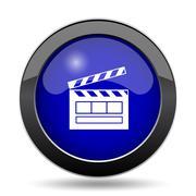 Movie icon. Internet button on white background.. Stock Illustration