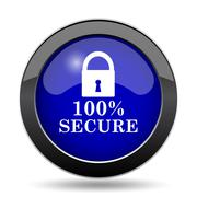 100 percent secure icon. Internet button on white background.. Stock Illustration