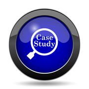 Case study icon. Internet button on white background.. Stock Illustration