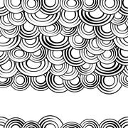 Black and white circles seamless pattern, vector background.Monochrome abstract Stock Illustration