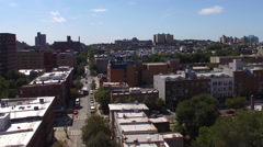 Drone view of Brooklyn towards Prospect Park Stock Footage