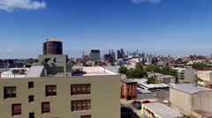 Aerial Drone of Crown Heights Brooklyn towards Manhattan Stock Footage