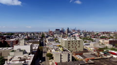 Drone view of Brooklyn and Manhattan Skyline Stock Footage
