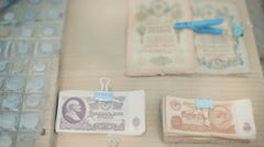 Ancient Russian Money for Sale Stock Footage