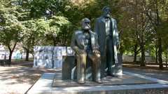 Marx and Engels monument Stock Footage