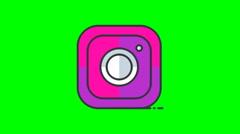 8k - Cartoon instagram icon logo symbol, on green screen Stock Footage