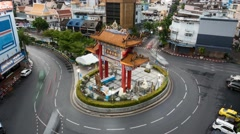 4K Traffic circling around the Odeon roundabout, time lapse, Chinatown, Bangkok Stock Footage