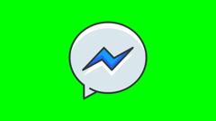 8k - Cartoon facebook messenger icon logo symbol, on green screen Stock Footage