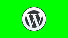 8k - Wordpress icon logo symbol, on green screen Stock Footage