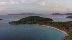 Aerial view of Scott Beach, Caneel Bay at Sunset Stock Footage