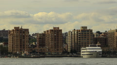Hoboken, New Jersey skyline on the Hudson River Stock Footage