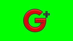 8k - Google plus icon logo symbol, on green screen Stock Footage
