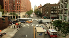New York City intersection in Chelsea neighborhood Stock Footage