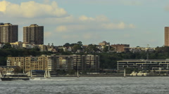Sailboats on the Hudson River (time lapse) Stock Footage