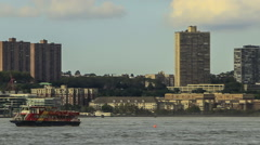 Water traffic on the Hudson River (time lapse) Stock Footage