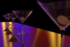 Martini Glasses 3D render Stock Illustration