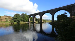 North Water viaduct reflected in River North Esk Angus Scotland Stock Footage