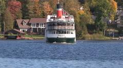Steamship cruise boat leaves port in Muskoka Stock Footage