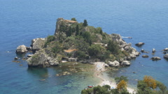 View of the island, Isola Bella near Taormina, Sicily, Italy. Stock Footage