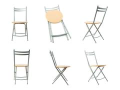 Set of Folding chair over isolated white background Stock Photos