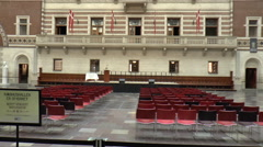 Copenhagen City Hall Interior View Tilting Up Stock Footage
