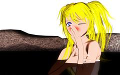 Toon girl in Japanese comic style taking a bath in hot spring Stock Illustration