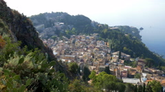 High angle view of Taormina in Sicily, Italy. Stock Footage