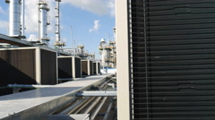 Condensing of Air housing unit on top of building Stock Footage