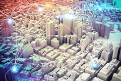 Futuristic city vision. 3D Rendering Piirros