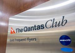 Close-up of The Qantas Club signage Stock Photos