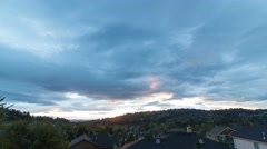 Time lapse of clouds over residential homes in Happy Valley OR at sunset 4k uhd Stock Footage