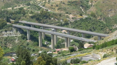 Elevated highway bridge. Autostrada in Taormina, Sicily, Italy. Stock Footage